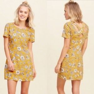 Hollister Dress Cross Back Floral Yellow M SS